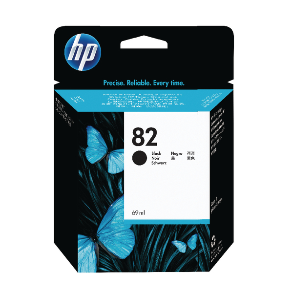 HP 82 Black DesignJet Ink Cartridge 69ml (Pack of 2) P2V34A