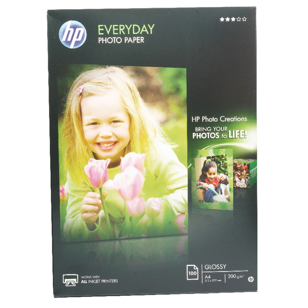 HP A4 White Everyday Glossy Photo Paper 200gsm (Pack of 100) Q2510A