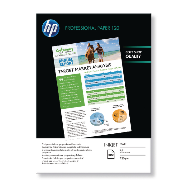HP A4 White Professional Matte Inkjet Paper 120gsm (Pack of 200) Q6593A