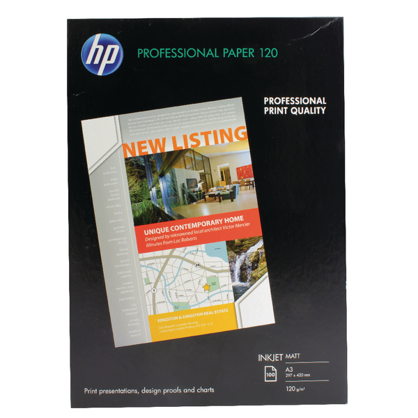 HP White A3 Professional Matte Inkjet Paper 120gsm (Pack of 100) Q6594A