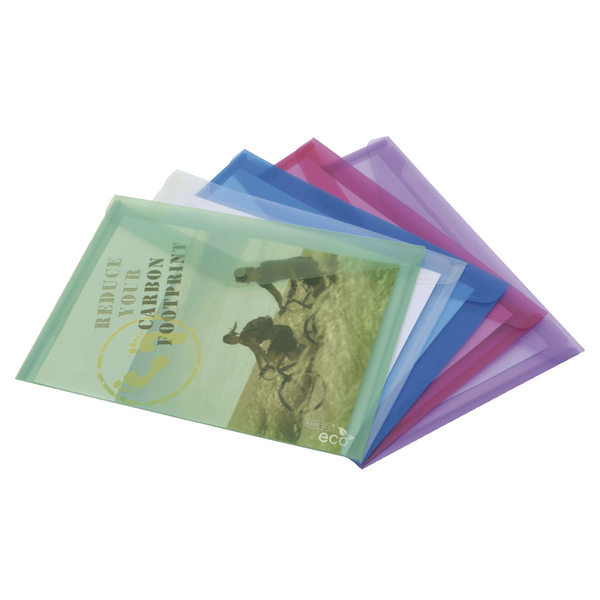 Rapesco ECO Popper Wallet A4 Plus Assorted (Pack of 5) 1039