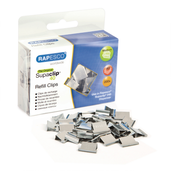 Rapesco Supaclip 40 Clips Refill Stainless Steel (Pack of 200) CP20040S