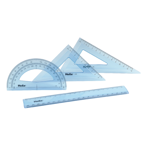 Helix Geometry 4 Tool Set (Includes scale ruler, 2 x set squares and protractor) Q88100