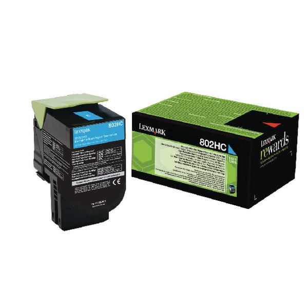 Lexmark 802HC Cyan Toner Cartridge High Capacity 80C2HC0