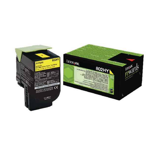 Lexmark 802HY Yellow Toner Cartridge High Capacity 80C2HY0