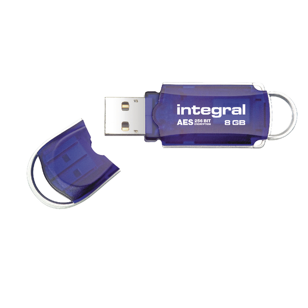Integral Courier FIPS 197 Encrypted USB 8Gb Flash Drive Blue INFD8GBCOUAT