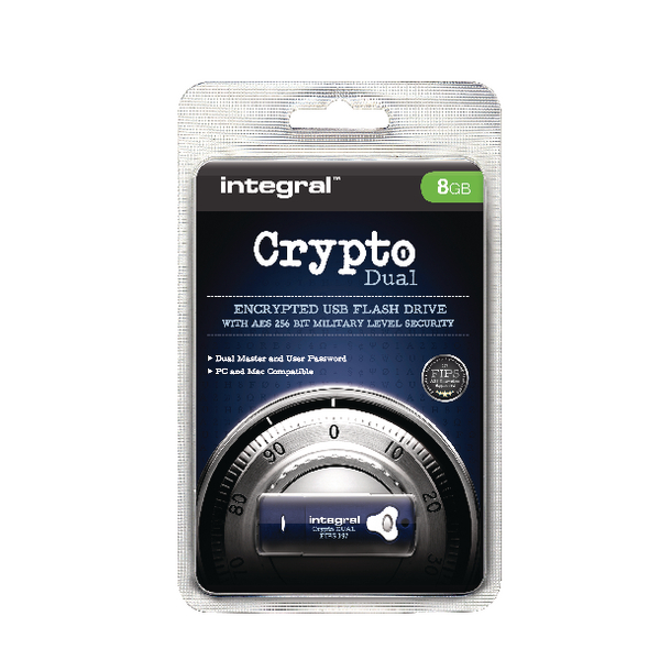 Integral 8GB Crypto FIPS 197 Encrypted Flash Drive Blue INFD8GCRYPTODL197