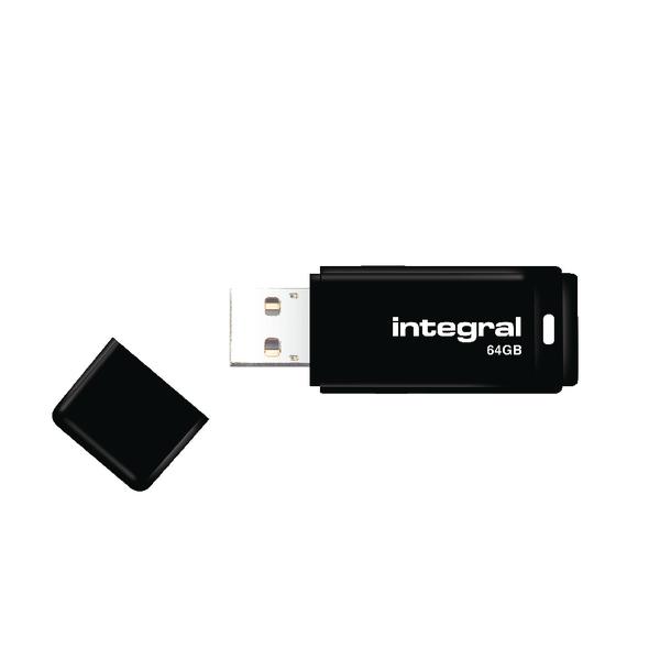 Integral Black USB 2.0 64Gb Flash Drive INFD64GBBLK