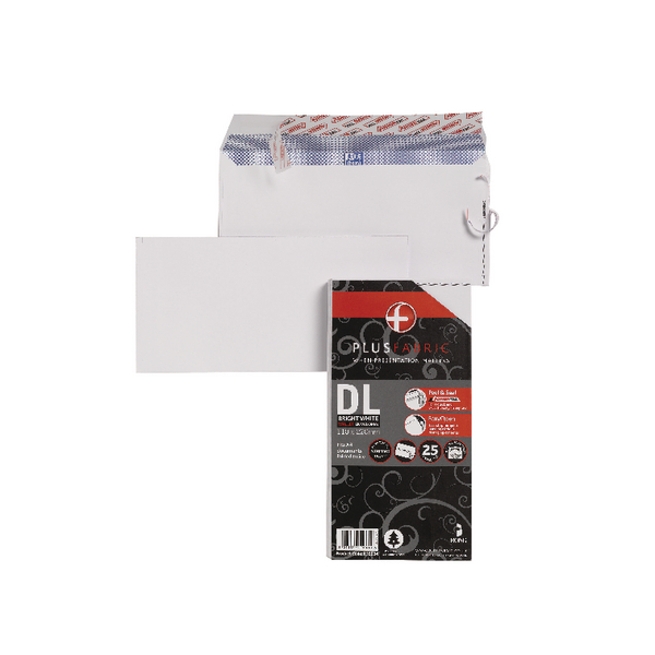 Image for Plus Fabric DL Envelopes 110gsm Peel and Seal White (Pack of 25) R10004