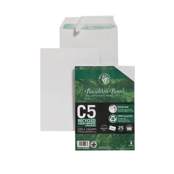Image for Basildon Bond Envelope C5 120gsm Peel and Seal Recycled Plain White Pack of 25 16-BUK-003
