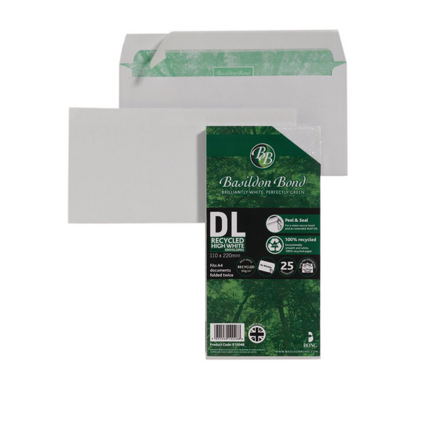 Image for Basildon Bond DL 120gsm Peel and Seal Recycled Plain Envelope White (Pack of 25) 16-BUK-001