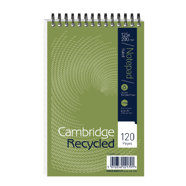 Cambridge Recycled Reporters Notebook Ruled 120 Pages (Pack of 10) 100080120