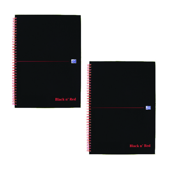 Image for Black n Red Wirebound Notebook A4 (2 Packs of 5) JD814014