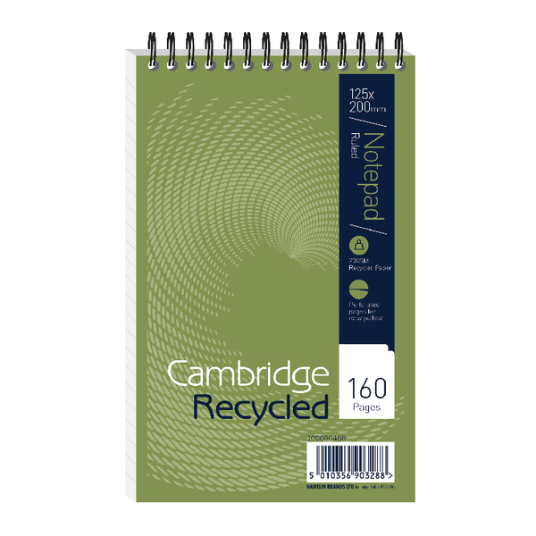 Cambridge Recycled Wirebound Reporters Notebook 160 Pages 125 x 200mm (Pack of 10) 100080468