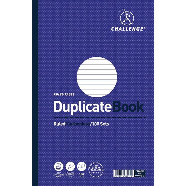 Challenge Duplicate Book Ruled Carbonless 100 Sets 297 x 195mm (Pack of 3) 100080527