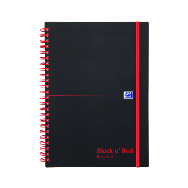 Black n Red Recycled Wirebound Polypropylene Notebook 140 Pages A5 (Pack of 5) 846350963