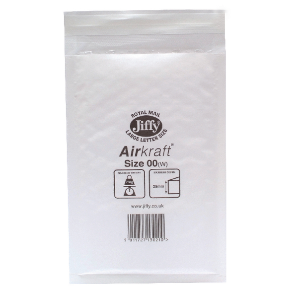 Image for Jiffy AirKraft Mailer Size 00 115x195mm White JL-00 (Pack of 10) MMUL04600