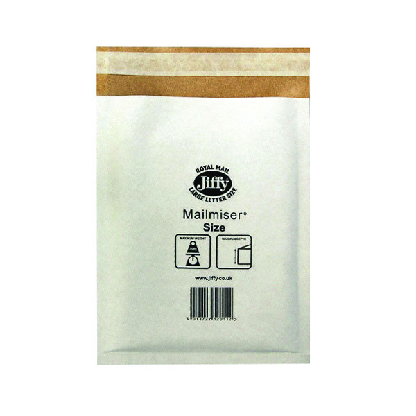 Jiffy Mailmiser Size 0 140x195mm White MM-0 (Pack of 10) 2219