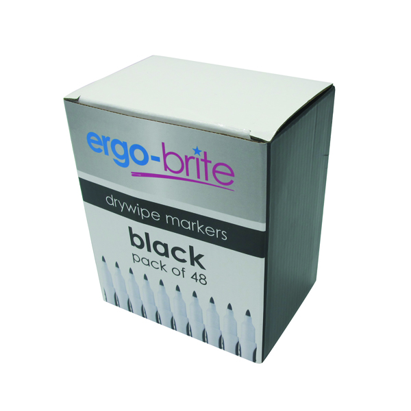 Ergo-Brite Drywipe Marker Rubber Grip Black (Pack of 48)