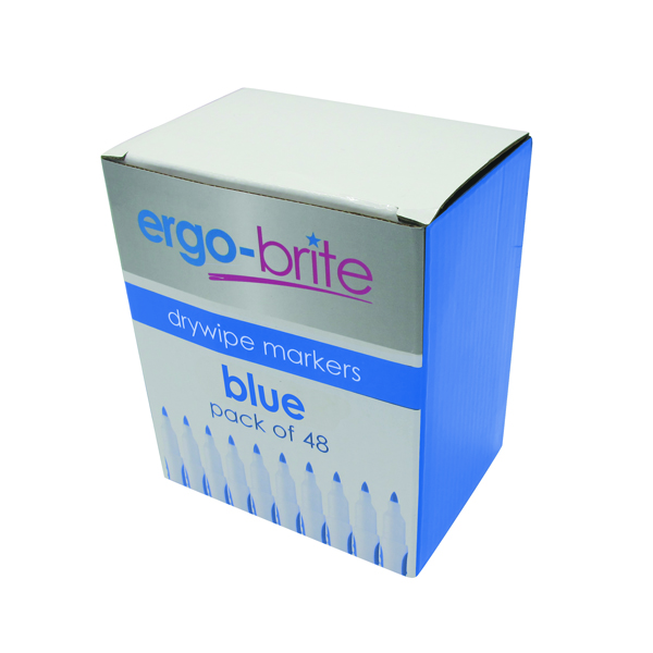 Ergo-Brite Drywipe Marker Rubber Grip Blue (Pack of 48) JN10114