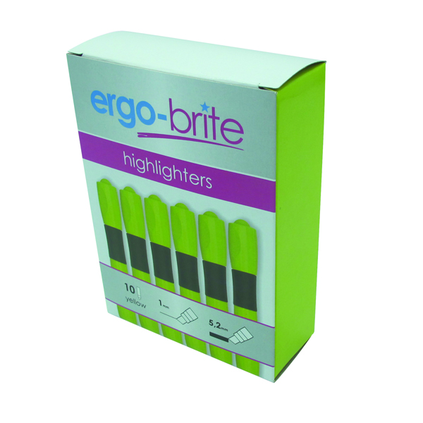 Ergo-Brite Ergonomic Highlighter Pen Yellow (Pack of 10)