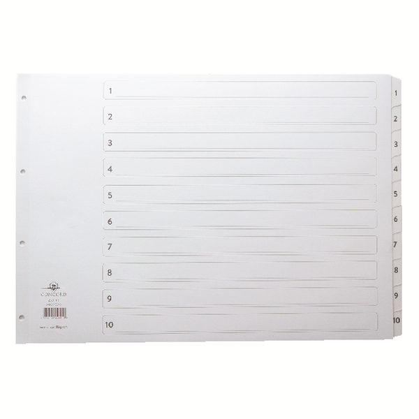 Concord Classic Index 1-10 A3 White Board With Clear Mylar Tabs 04601/Cs46