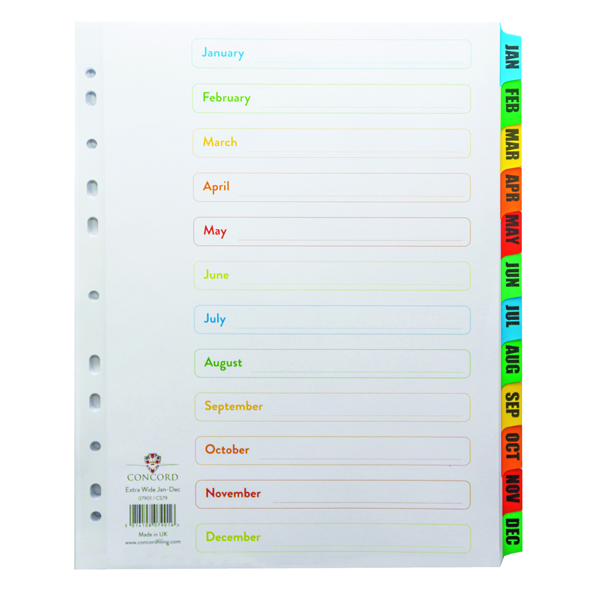 Concord Index January-December A4 Extra Wide White With Multicolour Tabs 07901/CS79