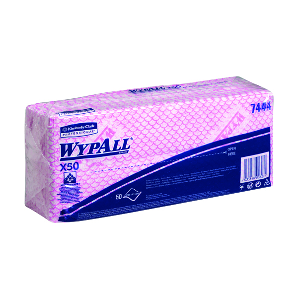 Wypall X50 Cleaning Cloths (Pack of 50) Red 7444