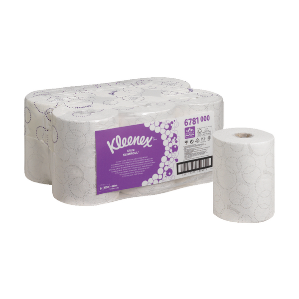 Kleenex Ultra Slimroll 2 Ply White Hand Towel Roll 100m (Pack of 6) 6781