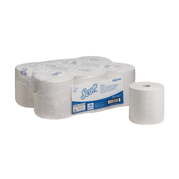 Scott Control 1-Ply White Hand Towel Roll 250m (Pack of 6) 6620