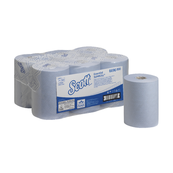 Scott Essential Slimroll 1-Ply Blue Hand Towel Roll 190m (Pack of 6) 6696