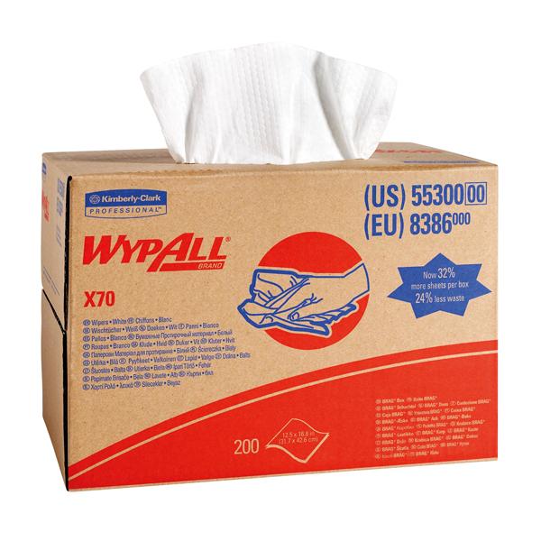 Wypall X70 Cloths Brag Box 1-Ply White 200 Sheets 8386