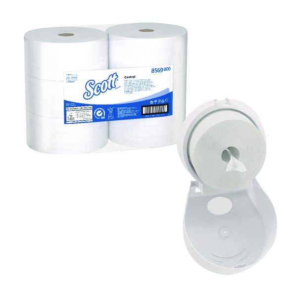 Scott Control Toilet Tissue 2Ply 314m White (Pack of 6) FOC Control Toilet Tissue Dispenser