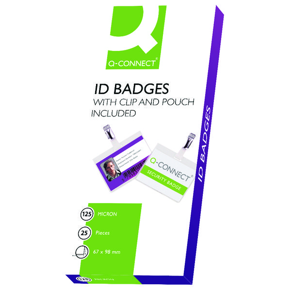 Q-Connect Hot Laminating ID Badge With Clip (Pack of 25) KF00302