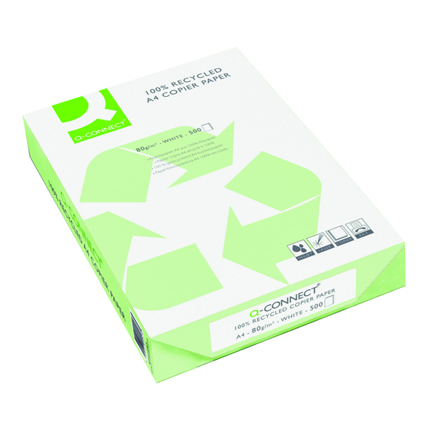 Q-Connect White Recycled Copier Paper Ream 80gsm (Pack of 2500)