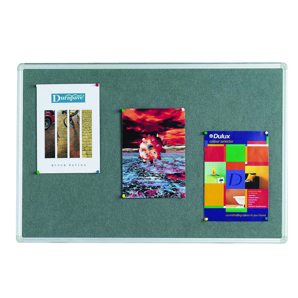 Image for Q-Connect 900x600mm Aluminium Frame Grey Notice Board 9700025