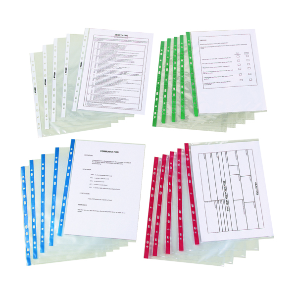 Image for Q-Connect Delux Punched Pocket Top Opening Green Strip A4 Clear (Pack of 100) KF01121