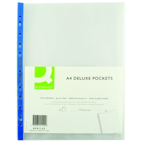 Image for Q-Connect Delux Punched Pocket Top Opening Blue Strip A4 Clear (Pack of 25) KF01122