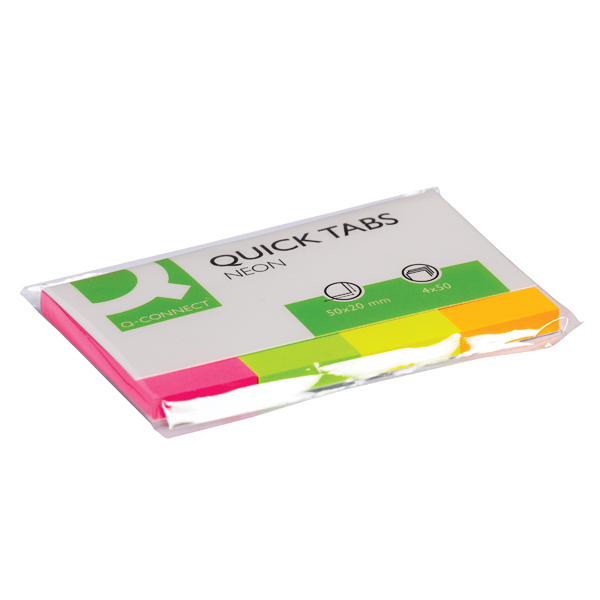 Q-Connect Quick Tabs 20 x 50mm Neon (Pack of 200) KF01226