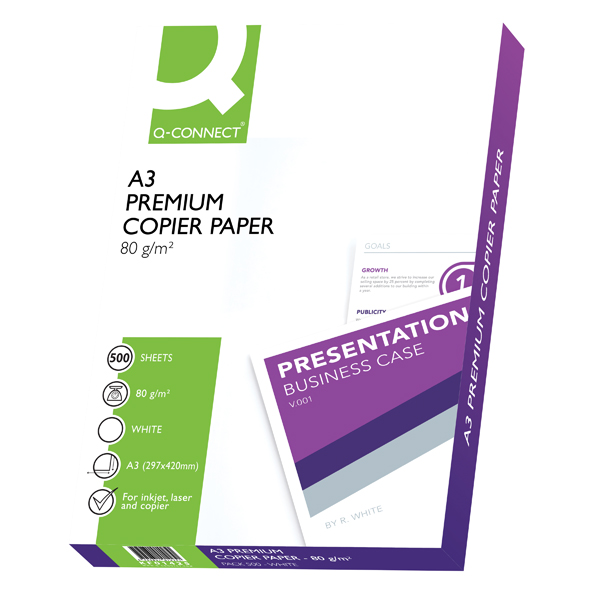 Q-Connect Premium Copier/Laser A3 Paper 80gsm White Ream (Pack of 500)