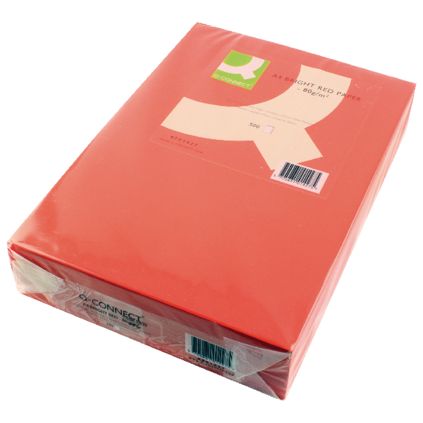 Q-Connect Bright Red Coloured A4 Copier Paper 80gsm Ream (Pack of 500)
