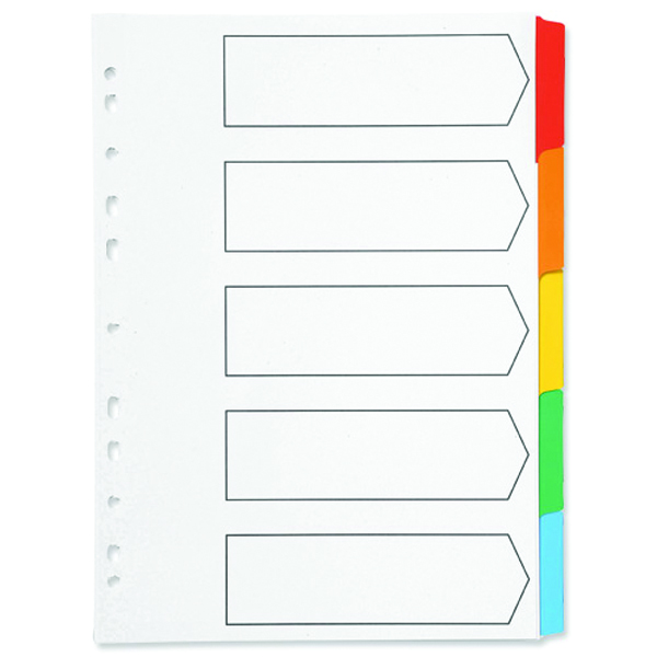 Q-Connect Multi-Punched 5-Part Reinforced Multi-Colour A4 Index Blank Tabs