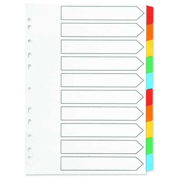 Q-Connect 10-Part Index Multi-punched Reinforced Board Multi-Colour Blank Tabs A4 White KF01526