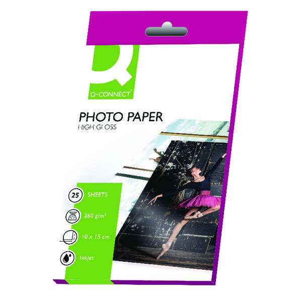 Q-Connect White 10x15cm Glossy Photo Paper 260gsm (Pack of 25)