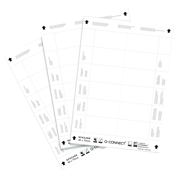 Q-Connect 40x75mm Name Badge Inserts 12 Per Sheet (Pack of 25) KF02288