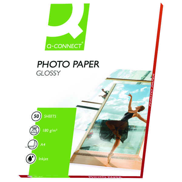 Q-Connect A4 Gloss Photo Paper 180gsm (Pack of 50)