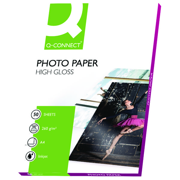Q-Connect A4 White High Gloss Photo Paper 260gsm (Pack of 50)