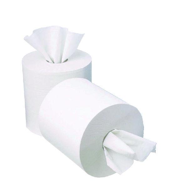2Work 1-Ply Mini Centrefeed Roll 120m White (Pack of 12)