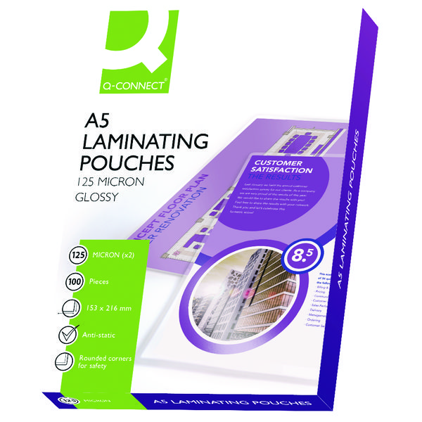 Q-Connect A5 Laminating Pouch 250 Micron (Pack of 100)