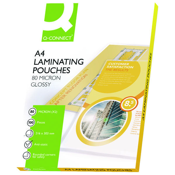 Q-Connect/BOSS Premium A4 Laminating Pouch Gloss 150/160 Micron (Pack of 100) KF04114/P415